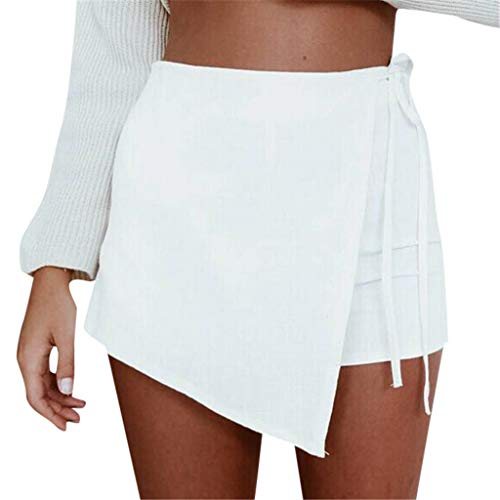 (HENWERD Womens Skorts High Waisted Casual Irregular Flanging Wrap Culottes Shorts Skirt (White,M))