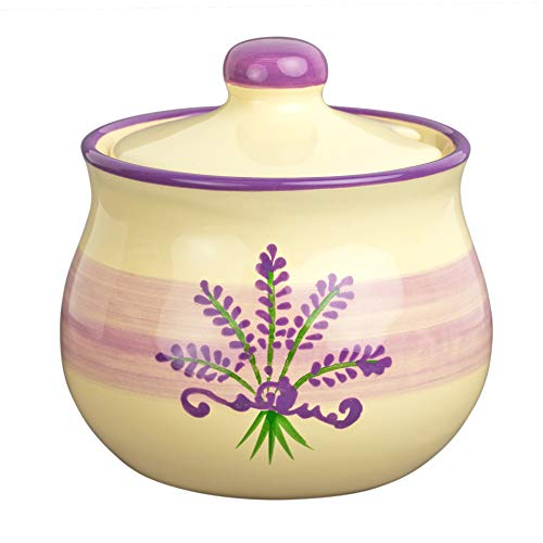 City to Cottage Handmade Lavender Floral Purple and Cream Ceramic Sugar Bowl, Pot with Lid | Pottery Honey Jar, Jam Jar | Housewarming Gift
