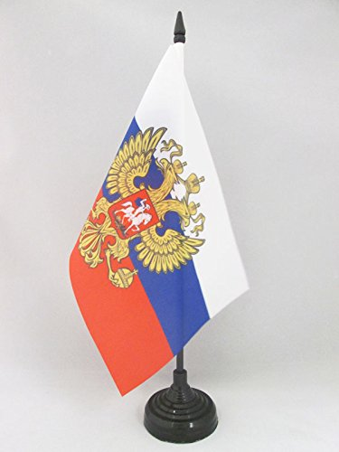AZ FLAG Russia with Eagle Table Flag 5'' x 8'' - Russian Coat of arms Desk Flag 21 x 14 cm - Black Plastic Stick and Base