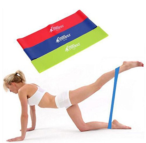 (MChoice 3Pcs Resistance Band Loop Yoga Pilates Home Gym Fitness Exercise Workout Training)