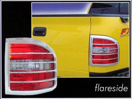 QAA FITS F-150 2004-2008 Ford (2 Pc: ABS Plastic Taillight Bezels w/Chrome Overlay, FLARESIDE) TL44309 ()