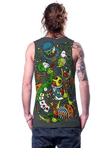 - Alice in Wonderland Psychedelic Top - Fine Print Cotton Tank Top for Men - in Grey - M