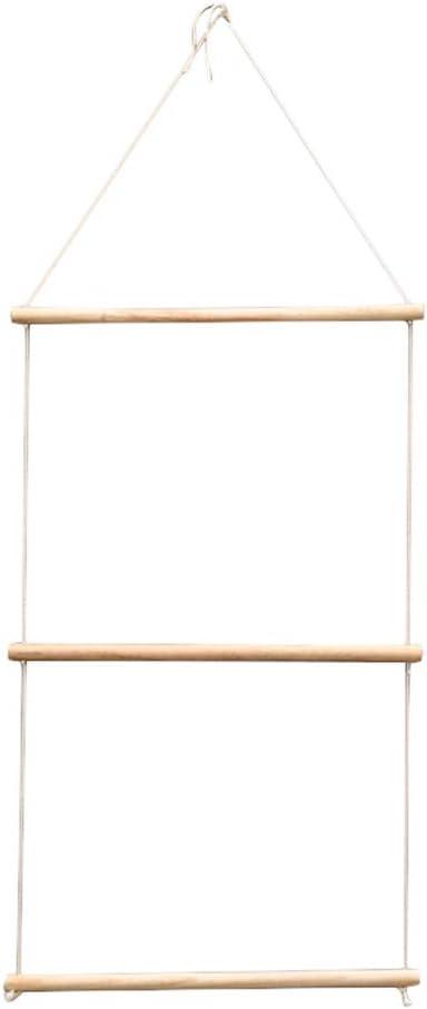 KEYkey Decorazione di Cappotto di Legno della Parete cremagliera Semplice e Moderna MianshengWall Hanging Appendiabiti in Legno Naturale e Scala di Corda Organizzatore Asciugamano