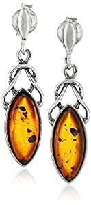 Sterling Silver Amber Celtic Design Marquis Dangle Earrings