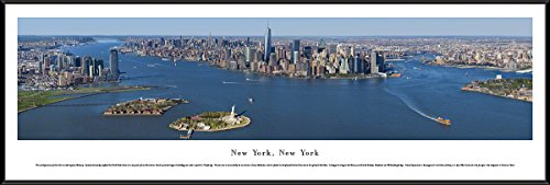 Blakeway Worldwide Panoramas New York-Manhattan Island-Blakeway Panoramas Skyline Posters with Standard Frame