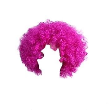 TOOGOO(R) Peluca rizada corta Postizo de Cosplay traje de pelo afro Fucsia: Amazon.es: Salud y cuidado personal