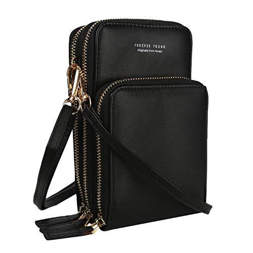 Amazon.com: Mini cartera compacta de piel sintética para ...
