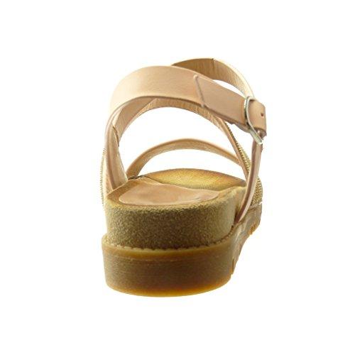 Angkorly Scarpe da Moda Sandali Mules Donna Gioielli Multi-Briglia Tanga Tacco Zeppa 4 cm - Rosa
