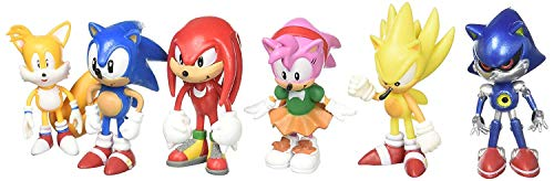 Sonic Leno The Hedgehog | Toy and Action Figure |1 Set Knuckles, Super, Amy, Metal and Tails - 6 pcs - 2 Inch]()