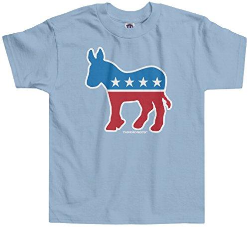 Democrat Light T-shirt (Threadrock Little Girls' Democrat Donkey Toddler T-shirt 3T Light Blue)