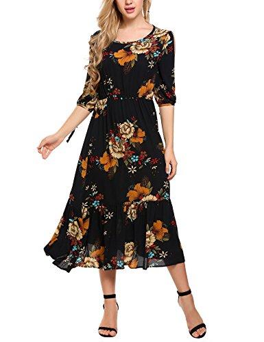 Printed Chiffon Long Dress - 9