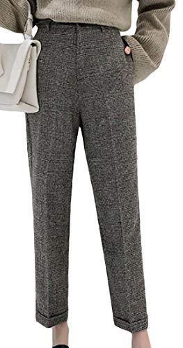 XiaoTianXinWomen XTX Womens Mid Waist Wool-Blend Straight Leg Winter Cuff Pants Trousers Coffee ()