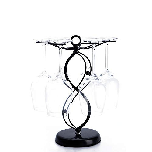 Countertop Wine Glass Holder - Freestanding Tabletop Stemware Storage Rack Metal Glasses Display Rack Black with 6 Hooks