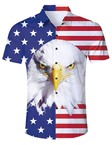ALISISTER 3D American Flag Shirt Mens USA T Shirt Short Sleeve Button Down Blouse Star Beach Tropical Swimwear Vacation Holiday XL White