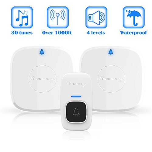 Wireless Doorbell,Rtaneey IP44 Waterproof Door Chime Kit Operating at Over 1476 ft with 2 Plug-In Receivers,30 Melodies,4 Level Volume,LED Indicators,Easy Set Up for Home and Office by Rtaneey