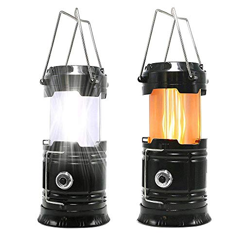 LED Camping Lantern, Solar Outdoor Camping Light, 3 in 1 Retractable handheld or Hanging Flame Light With Ultra Bright Flashlight for Camping, Hiking, Emergency Lights, Tent Lights(1 Pack)