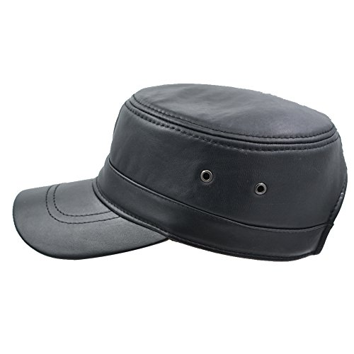 IFSUN Men's Genuine Lambskin Leather Hat Military Style Flat Cap
