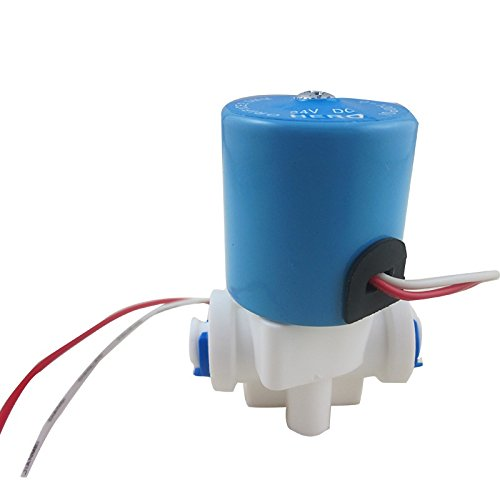 DIGITEN DC24V 1/4'' Electric Solenoid Valve N/C Feed for RO Water Air with Quick Connect by DIGITEN
