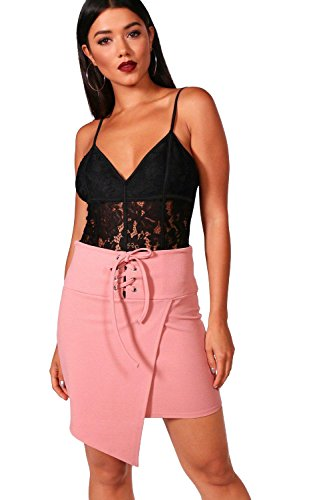 08eb30556bfb5 Nackt Damen Liza Eyelet Lace Up Wrap Front Mini Skirt Nackt BRYa0cw3cO