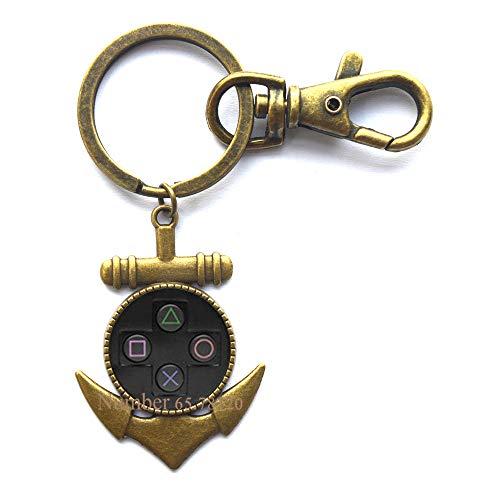 Game Controller Anchor Keychain-Girl Gamer Jewelry-Gamer Anchor Keychain-Gamer Gift-Video Game Jewelry-Gift for Gamer Player Anchor Keychain,BV072 (V2) -