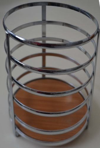 "Chrome Utensil Holder Caddy W/bamboo Base. 5"" Dia X 7.5"" H by GinsonWare (Image #1)"