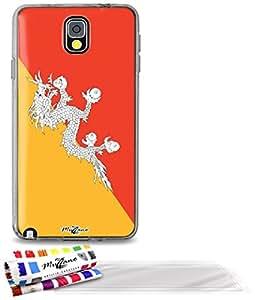 """Carcasa Flexible Ultra-Slim SAMSUNG GALAXY NOTE 3 / N9000 de exclusivo motivo [Bandera Bhután] [Gris] de MUZZANO  + 3 Pelliculas de Pantalla """"UltraClear"""" + ESTILETE y PAÑO MUZZANO REGALADOS - La Protección Antigolpes ULTIMA, ELEGANTE Y DURADERA para su SAMSUNG GALAXY NOTE 3 / N9000"""