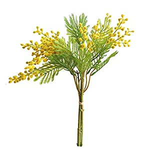 Xilyya 35cm Mimosa Bouquet Artificial Flowers Wedding Bouquets Centerpieces Home Decor (Yelllow) 1