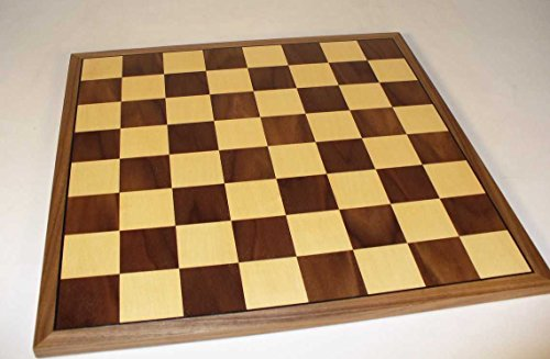 Worldwise Imports 17in Walnut and Maple Wooden Chessboard with Thin Frame and 2in Squares