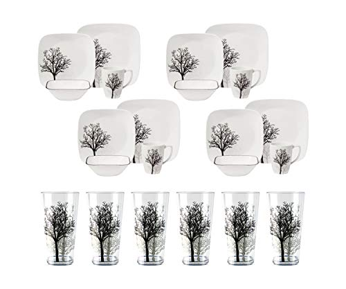 Corelle 16-Piece Square Timber Shadows Dinnerware Set bundle with Corelle Coordinates 6-Piece Timber Shadows Acrylic Iced-Tea Glass, 19 oz. ()
