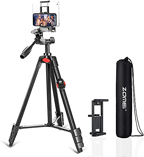 Tripod for iPhone and Android Cellphone,54-inch Premium Flexible Pan Head Phone Tripod,Wireless Remote, Cellphone Phone Tablet Stand Holder,Upgrade Ball Head and Carrying Bag
