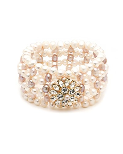 (Carolee Women's Petals and Pearls Women's Freshwater Pearl Woven Stretch Bracelet, Gold/Pink)