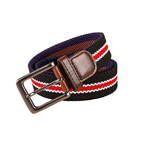 Mens & Womens Canvas Belt Leather Colorful Outdoor Casual Waistbelt with Metal D-Ring Buckle For Jeans Pants (F)