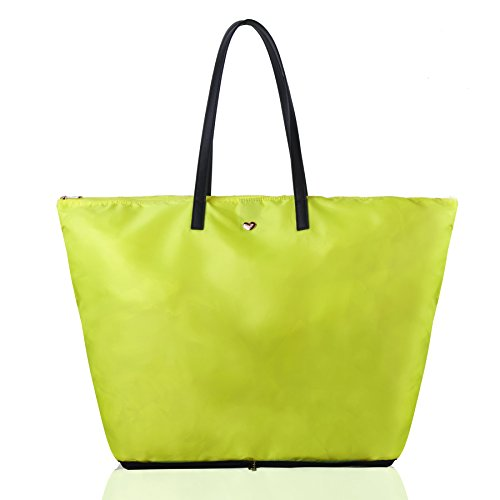 Trim Shopper (The Lovely Tote Co. Women's Portable Polyester Shopper Tote with Zipper Closure, Neon Yellow)