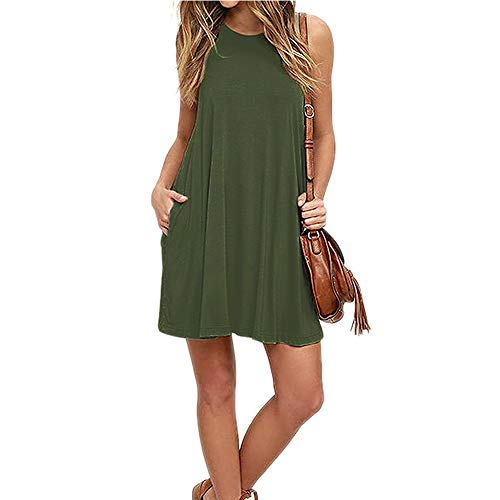 (Mifidy Sleeveless Loose Tank Dress, Casual Plain Dresses Scoop Neck Fit Tank Plus Size Dresses Pockets Casual Swing T-Shirt Tunic Dresses Girls Army Shirt(XX-Large,Army)