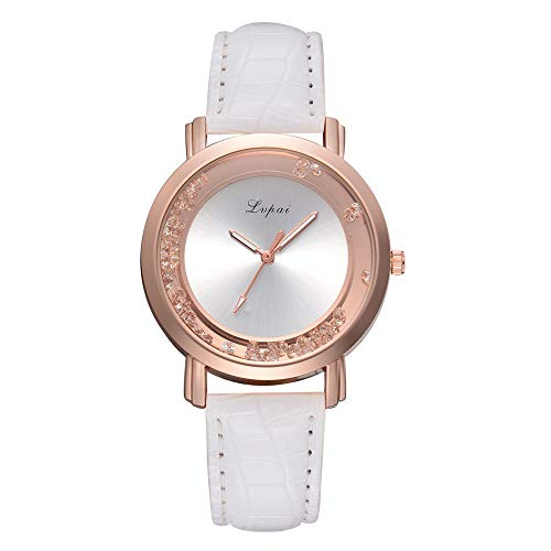 Elegant Classic Ladies Watch, Crystal Round Small Dial Quartz Steel Belt Watch Analog Wrist Watch Office Causal Student (White)