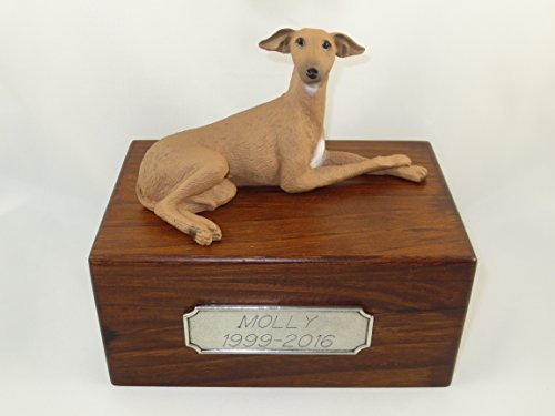 Beautiful Paulownia Small Wooden Urn with Italian Greyhound Figurine & Personalized Pewter Engraving