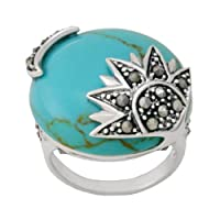 Sterling Silver Marcasite Synthetic Turquoise Sun and Moon Ring from Amazon Curated Collection