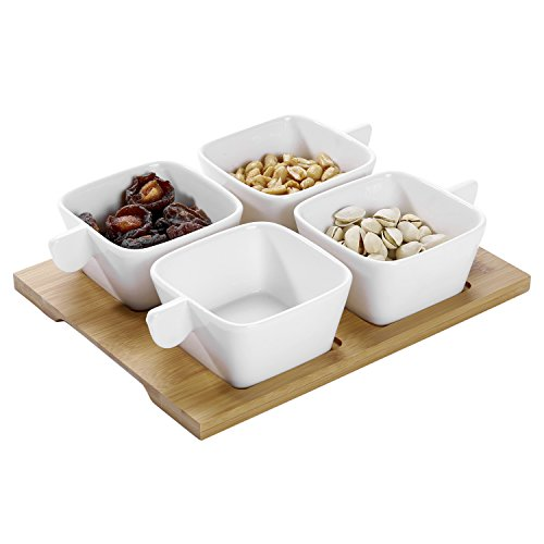 5-piece White Square Ceramic Snack Bowls, Relish Serving Set with Bamboo (Relish Snack)