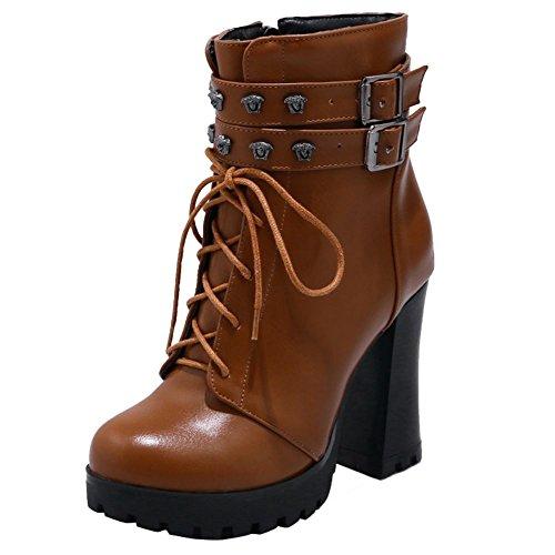 Mee Shoes Damen Blockabsatz Reißverschluss Metall Dekoration Stiefel Gelbbraun