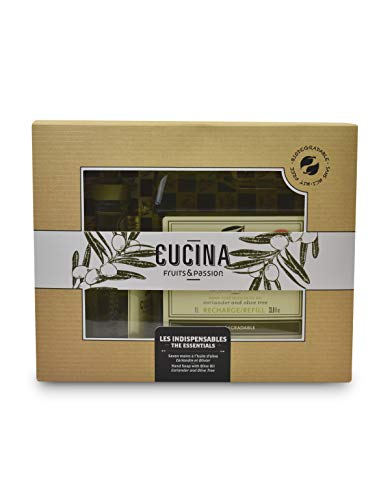 Fruits & Passion's Cucina Hydrating Olive Hand Soap Set, Liquid Foaming Hand Wash, Moisturizing and Hydrating Your Skin, Refill 1L and 200ML SET