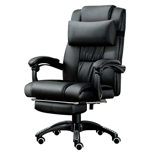 JL Comfurni Computer Chair Office Chair Swivel Leather Desk Chair Ergonomic Recliner with Padded Footrest and Lumbar Cushion Height Adjustable -Black