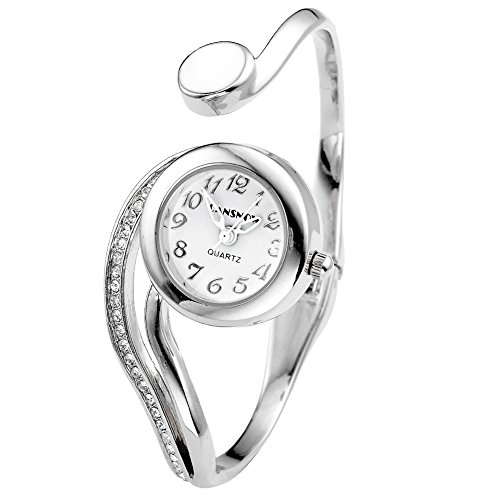 MANIFO Fashion Women's Rhinestone Bangle Cuff Bracelet Analog Quartz Wrist Watch - Silver Tone