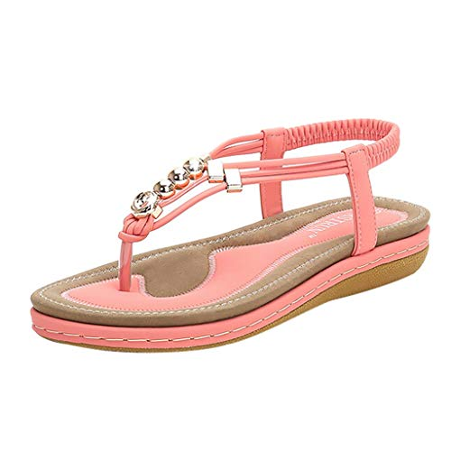 (2019 Newest Sexy Bordered Ankle Strap Sandals, Ladies Casual Round Head Beach Slippers Flat Roman Shoes (Pink, 7 (US)-9.8