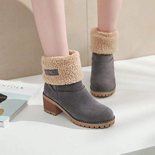 Grey Women Lining Snow Lazzboy Block Tube Warm Boots Mid Heel Suede Adjustable APCHwxqCa