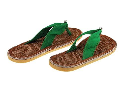 Piscine Mule Wedges Pantoufle Sandale Créatif Bout Femme Plage Causal Décor Diamant Lanière Vert Ouvert Plate ROwSfYqSz