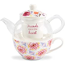 Flora by Stephanie Ryan 87226 Friends Warm The Heart Four Piece Tea Cup with Tea Pot Lid and Infuser Tea for One Set Floral Design, Purple