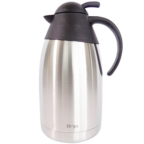 Coffee Carafe Thermal Insulated |Large 12 Cup 68 Ounce 2 Liter Capacity | Stainless Steel with Double Wall Vacuum Insulation | Keep Drinks Hot or Cold | Brush and Cloth Included by Brijo ()