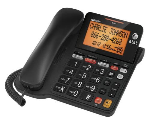 AT&T Corded Phone with 25 min Digital Answering Machine, Backlit Tilt Display, Audio Assist, Speakerphone (CL4940BK), Black
