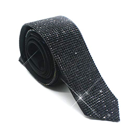 Michael Jackson Necktie Tie Laser Crystal Rhinestone Necktie Necklace for Performace Wedding Party Prom Handmade Black