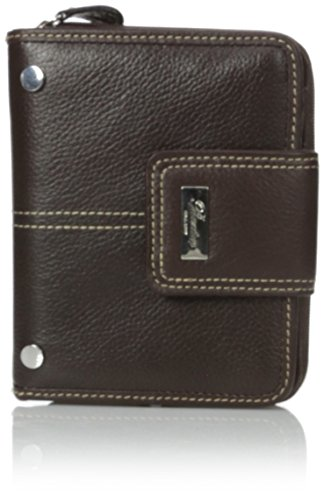 Buxton Westcott Tab Zip-Around Attached Wallet, Brown, One (Attached Tab)